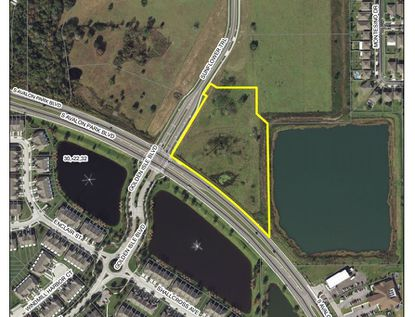 Outlined in yellow is the 5.16-acre parcel located at 321 S. Avalon Park Blvd. on the northeast corner with Golden Isle Boulevard/Sunflower Trail, targeted for new retail outparcels.