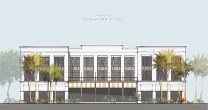 An elevation of the 45,000-square-foot boutique hotel at 8 N. Highland Ave.