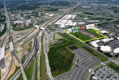 Outlined in yellow is the 16.5-acre parcel at 5504 W. Oak Ridge Road, east of a new Interstate 4 interchange connecting to Grand National Drive.