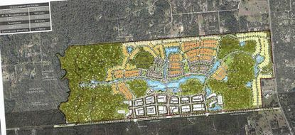 "Partial view of a conceptual plan a development program for 669 acres in southeast Seminole County, dubbed ""River Cross,"" which includes single-family homes and townhomes, apartments and office/commercial space."