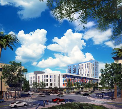 The latest rendering of an 11-story apartment and retail building planned for 3.46 acres on the southeast corner of Lake Nona and Tavistock Lakes boulevards.