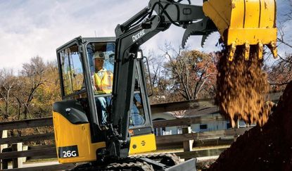 View of a John Deere compact excavator, one of many construction machinery models sold by Nortrax.