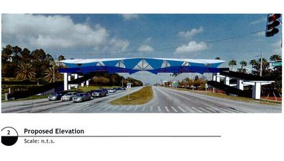 A rendering of Universal Orlando's proposed pedestrian bridge over Kirkman Road.