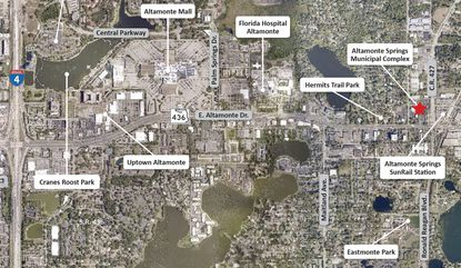This map shows the Altamonte Springs Municipal Complex (red star) that is being offered for sale and redevelopment, and its proximity to the city's SunRail station.