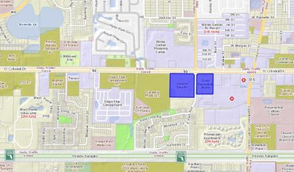 Set in Winter Garden on W. Colonial Drive and straddling S. Park Avenue, the blue 8.2-acre parcel on the left was bought this week by Giant Recreation World. It's current 4.8-acre parcel is highlighted on the right.