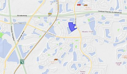 Highlighted in blue, the 11.73-acre parcel acquired by an affiliate of Atlantic Housing Partners lies along Landstar Boulevard in the Meadow Woods area.