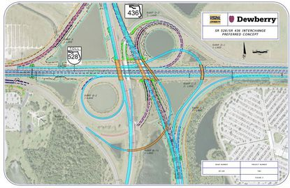 This concept plan shows the S.R. 528 and S.R. 436 interchange north of Orlando International Airport, with bridge segments (yellow) to be replaced, and ramp widening.