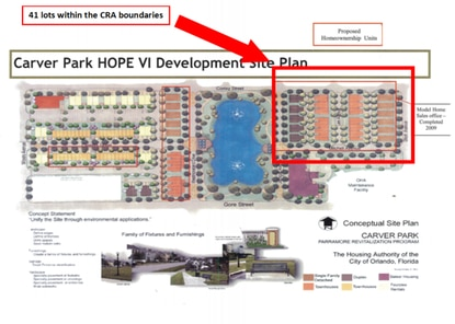 Orlando's CRA will partner with the Orlando Housing Authority to build 41 mixed-income single family homes in Carver Park. This was the last phase of the HOPE VI redevelopment project.
