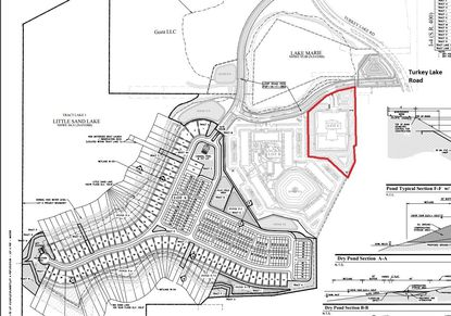"Outlined in red is the 5.71-acre Lot C of the ""Grenada property"" off of Turkey Lake Road, under contract to Greystar for an age-restricted apartment community. To its southwest in gray is Lot B, planned for regular multifamily with no formal plans filed yet. And to its southwest, facing the lake, is the 50.58-acre Lot A under contract to Meritage Homes for 181 single-family lots."
