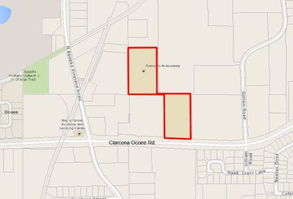 Outlined in red are the 9.2 acres owned by Radiant Life Church and its Radiant Life Academy on Clarcona Ocoee Road, near the intersection with N. Apopka Vineland Road.