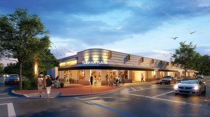 A rendering of the renovated design to come at the Princeton Center retail strip in College Park, at 2201 Edgewater Dr.
