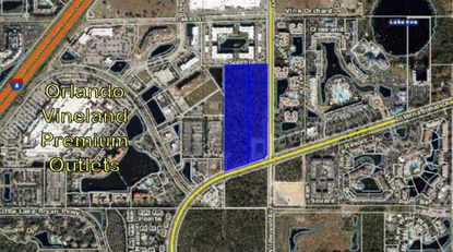 Highlighted in blue is the 20 acres, north of International Drive, where Related Group is seeking to bring a new 420-unit apartment community.
