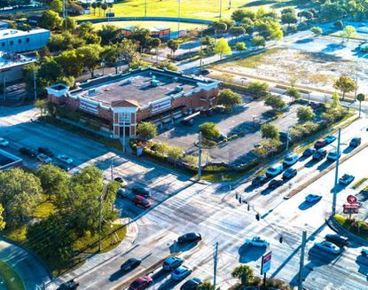 Aerial view of the recently acquired Walgreen's property at the northeast corner of W. Fairbanks and Orlando avenues in Winter Park.