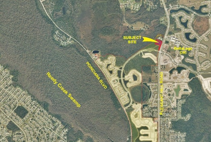 AV Homes will ask Osceola County's Development Review Committee to approve a PD Amendment to allow for 12,000 square feet of neighborhood commercial uses at the entrance to Isles of Bellalago. The site is shown in red.