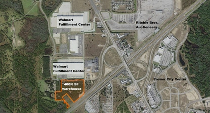 Majestic Realty Co. has filed plans for a 400,000-square-foot distribution warehouse building on 34 acres adjacent to the Walmart Fulfillment Center at I-4 and U.S. 27.