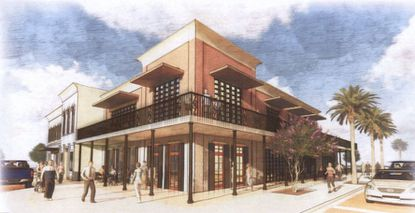 This rendering was created by the City of Ocoee as part of its plans to revitalize it's downtown area. The new developer is planning a 3-story product with residential units over ground-floor retail and commercial space.