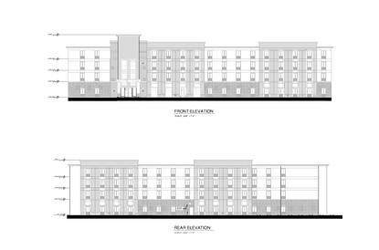 Carter Hospitality Group submitted these elevations as part of a Development Plan for a new 149-key Comfort Suites at Buena Vista Park, just off Palm Parkway.