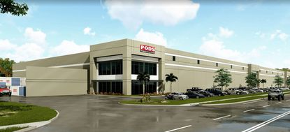 A project rendering from March of Duke Realty's planned industrial building on Municipal Drive, which shows PODS' logo on the building front.