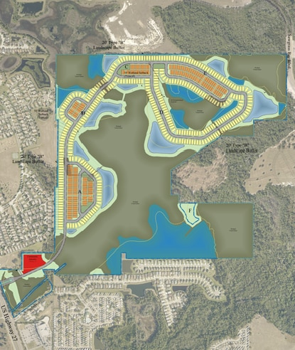 This is a preliminary plan for The Sanctuary, a new 536-lot subdivision just off U.S. 27 in South Lake County. The recently submitted construction plans include a road connection to Sawgrass Bay Boulevard.