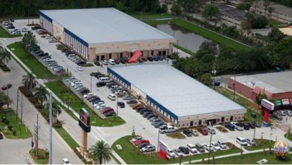 Aerial view of the Main Gate West Flea Market on Kissimmee's W192 tourism corridor.