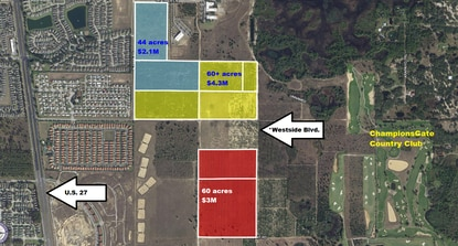 Eli Steinhardt now controls 104 acres shown in yellow on Osceola County's Westside corridor, next to Lennar's ChampionsGate Country Club. In Polk County developer Jean Marsan controls the 80 acres shown in red.
