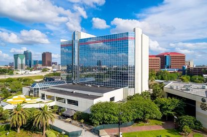 An aerial view of the front of the ex-Sheraton hotel in Downtown Orlando on W. Livingston Street, to be renovated as a full-service Marriott. The UCF School of Film and Digital Media lies to its immediate west.