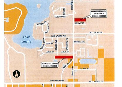 Highlighted in red are two vacant parcels on Mercy Drive in west downtown Orlando, which the city of Orlando is seeking proposals on from developers of affordable housing.