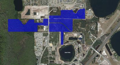 Highlighted in blue are the 220-plus acres owned by affiliates of The Kerina Group in the immediate vicinity of Apopka Vineland Road, Palm Parkway and the future Daryl Carter Parkway extension.