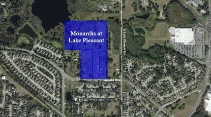 Highlighted in blue is the property amassed by developer Rafael Martinez for a proposed 126-unit apartment project called Monarchs at Lake Pleasant.
