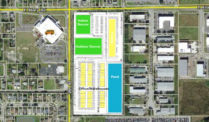 A preliminary site plan submitted in Winter Garden shows where the soccer facility and outdoor fields will be located (green) and the commercial space (yellow).