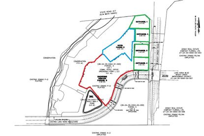 At the northwest corner of Lake Nona Boulevard and Boggy Creek Road are 12.09 acres where Tavistock plans to build a grocery-anchored shopping center (red), followed by phases with four retail outparcels (green) and a potential hotel (blue).