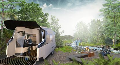 Rendering provided of a custom Airstream trailer design that could be used by Auro Hotels for a proposed glamping resort property on Lake Bryan in Orlando.