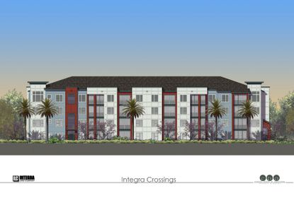 This rendering shows the façade of one of the apartment buildings at the proposed multifamily community, Integra Crossings, slated for ground-breaking in the fourth quarter.
