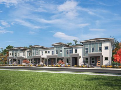 Rendering of townhomes within Meritage Homes' Sand Lake Sound residential community.