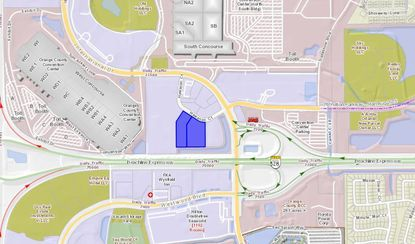 Highlighted in blue are two hotels on Hawaiian Court that were purchased last week by an affiliate of Rosen Hotels, directly east of the Rosen Centre Hotel.