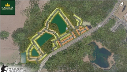 Pulte Homes paid $9.5 million for the 150-acre Cypress Hammock project, which is approved for 502 homes. Hanover Family Builders will build all of the townhomes (orange) while Pulite will build all of the 50-foot wide lots (tan). The two builders will split the 40-foot wide lots (yellow).