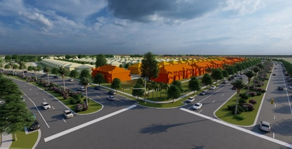This rendering shows the signalized intersection of Clay Whaley Road and the future Cross Prairie Parkway extension, which has a landscaped median, parallel parking and a linear park facing the townhome units (bright orange).