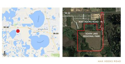 Maps showing the location of the 141-acre South Lake Regional Park site in Lake County, near Groveland.