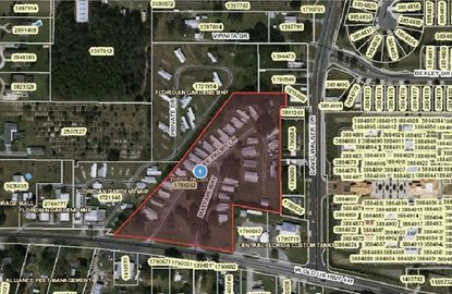 Highlighted in red, Three Palms Mobile Home Park on W. Old US Highway 441 has been rezoned for residential development, perhaps for senior housing.
