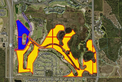 K. Hovnanian Homes bought the 26 acres market in blue last November for phase one of its Four Seasons Orlando active adult community. The homebuilder recently closed on the final 120 acres (in yellow) in the Mystic Dunes Resort.