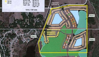 Outlined in yellow is the roughly 200 acres acquired, with the horizontal white line through the middle serving as Orange-Osceola county line. This is from a conceptual site plan in 2013 for the Springhead Lake development. The phases in that highlighted area included 475 home lots.