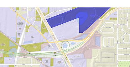 Outlined in blue is the site in northwest Orange County where the Polo Glen at Lake Betty apartments are planned. The site lies just north of a highway interchange for N. Orange Blossom Trail, the Apopka Expressway (S.R. 414) and Maitland Boulevard.