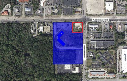 Highlighted in blue is the roughly 12 acres of vacant property formerly home to the Colony Plaza Hotel in Ocoee, at the intersection of W. Colonial Drive and Maguire Road. Outlined in red is a one-acre parcel owned by a new joint venture partner.