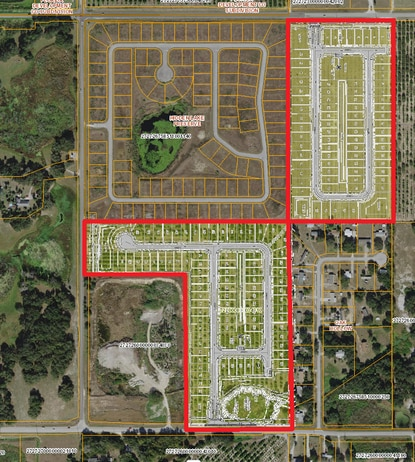 The subdivision (red) in Haines City was originally planned as a later phase of Hidden Lake Preserve. Keewin Real Property Company wants to build 155 lots.