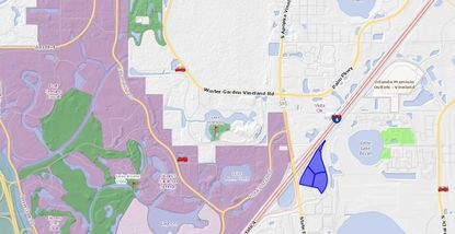 Highlighted in blue are the three hotel properties making up the Marriott Village, southwest of Orlando Vineland Premium Outlets and east of the Walt Disney World main entrance.