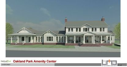 A front elevation of the planned amenity center at Oakland Park.