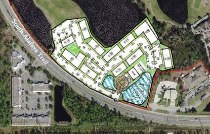 An aerial showing the site plan for EDEN Stoneybrook, a 250-unit multifamily community