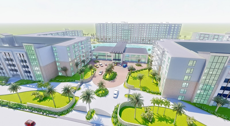 The Village at O-Town West will have 80,000 square feet of commercial space and nearly 850 apartments on site.