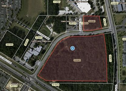 Benchmark has purchased the property outlined in red, next to Lady Lake Town Hall, with plans for a new shopping complex.
