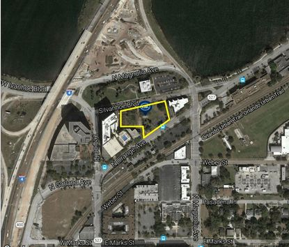 Outlined in yellow is the 1.56-acre parcel on S. Ivanhoe Boulevard, next to the Doubletree hotel in Downtown Orlando, and southwest of Lake Ivanhoe.
